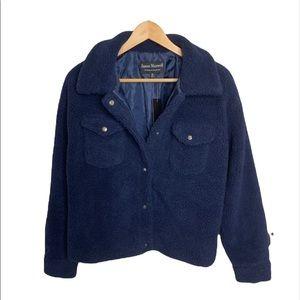 Jason Maxwell Navy Blue Teddy Sherpa Cropped Jacket